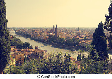 City of Verona with river at sunny day. Italy