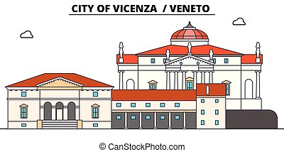 City Of Vicenza - Veneto line travel landmark, skyline,...