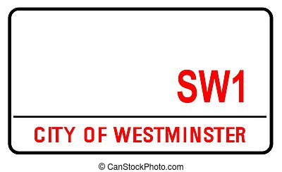 City Of Westminster London Blank Street Sign