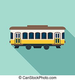 City old tram icon, flat style