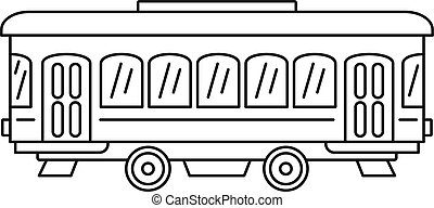 City old tram icon, outline style
