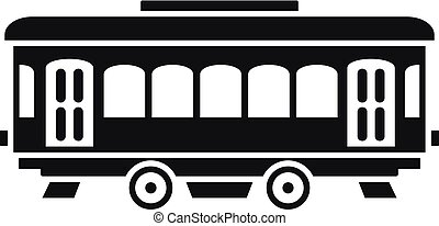 City old tram icon, simple style
