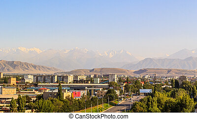 City on background of the mountains of Tien Shan. Bishkek, ...