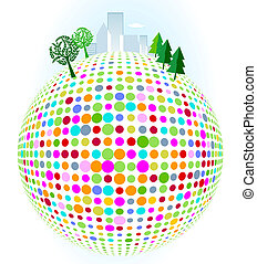 City on colorful dots