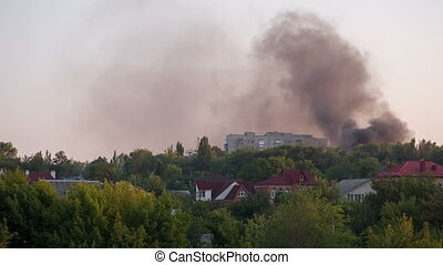 City on Fire after the Artillery Strike