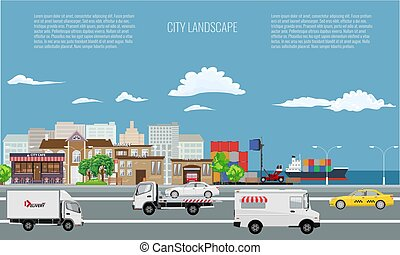 City on seaside landscape with cargo ship on the sea.