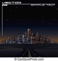 City on the Horizon. Urban Road Megalopolis