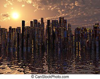City on water sunset or sunrise