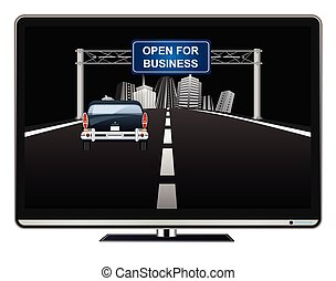 Television advertisement open for business on overhead road gantry following the worldwide pandemic  with vehicle driving towards generic city