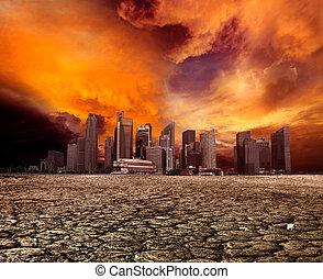 City overlooking desolate landscape - City overlooking...