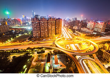 city overpass road at night