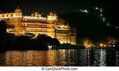 City palace in Udaipur at night.