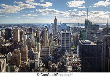 city:, panorama, céntrico, centro de la ciudad, york, nuevo