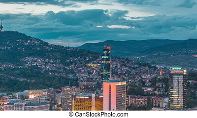 City panorama from Old Jewish cemetery day to night timelapse in Sarajevo