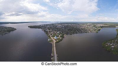 City panorama. Top view. Perm Krai Dobryanka