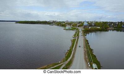 City panorama. Top view. Perm Krai Dobryanka. Timelapse