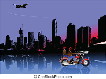 City panorama with motorcycle image. Vector illustration