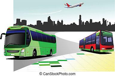 City panorama with tourist bus imag