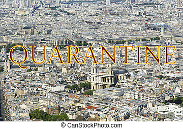 (city, paris, concept, skyline), signe., voyage, covid, france., europe., quarantaine, coronavirus, pandémie
