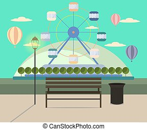 City Park and Ferris Wheel in flat design background.