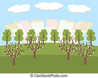city park at spring time vector