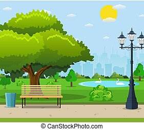 City park bench under a big green tree