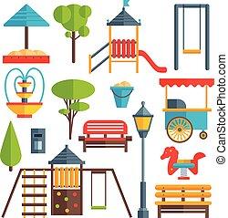 City Park Flat Elements Set - City park flat elements set...