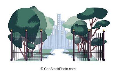 City park  in flat design. vector illustration.