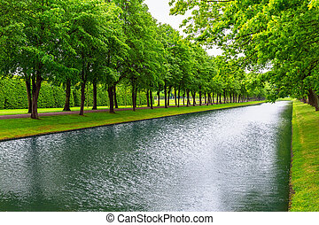 City Park in Schwerin, Germany - Scenic summer view of the...