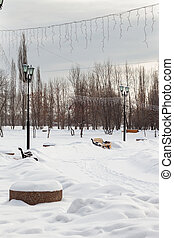 City park in winter on a cloudy day