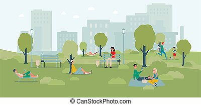 City park landscape banner with cartoon people relaxing outdoors
