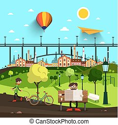 City Park Life with Bridge and Town on Background. Vector.