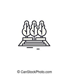 City park linear icon concept. City park line vector sign, symbol, illustration.