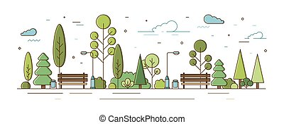 City park or municipal garden with trees, bushes, street lights and benches. Urban recreational area or zone. Modern colorful vector illustration in line art style for public location planning.