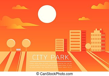 City Park Vector Flat illustration.