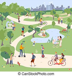 City Park vector illustration, people in city parkland ride bike, monocycle, Segway, skateboard and scooter. Family have picnic. Man playing with pet. Man and woman jogging outdoor. Female holds child