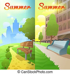 City Park Vertical Banners. Urban Summer Landscape. Vector illustration