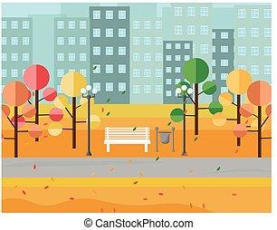 City Park view autumn seasons. Vectors background