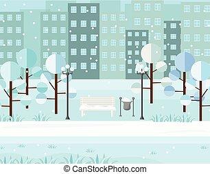 City Park view winter seasons. Vectors background