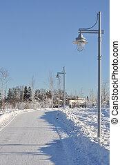 City Park Walking Path in Winter