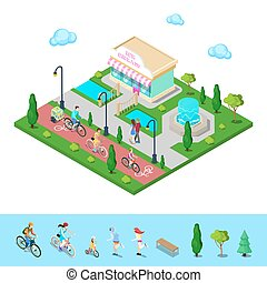 City Park with Bicycle Path. Family Riding on the Bicycles. Active People. Vector illustration