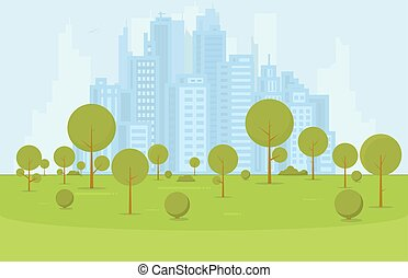 City park with buildings