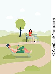 City park landscape background with people characters spending weekend outdoors on nature, flat vector illustration. People sitting on bench and grass lawn in urban park.
