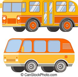 City passenger public transport. Retro vintage bus and tourist van.