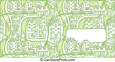 City pattern greeting card with a window for text