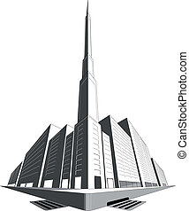 A ground or gutter level perspective of a city block with tall office buildings and a tower with spire.
