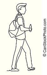 city., pessoas, passeio, water., viajante, pack., viagem, segura, park., drawing., contínuo, lines., desgaste, linha, monocromático, homem, desenho, saco, vetorial, garrafa, sujeito, ou