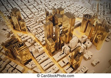 City plan - Project of a residential area in plastic