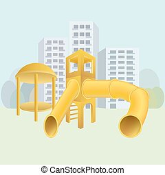 City playground vector illustration
