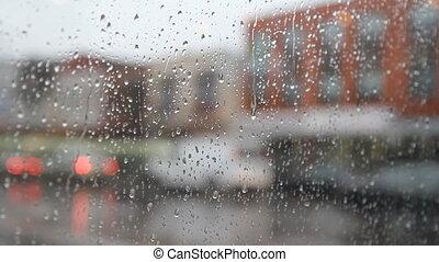 city., pluvieux, parapluie, blanc, woman.